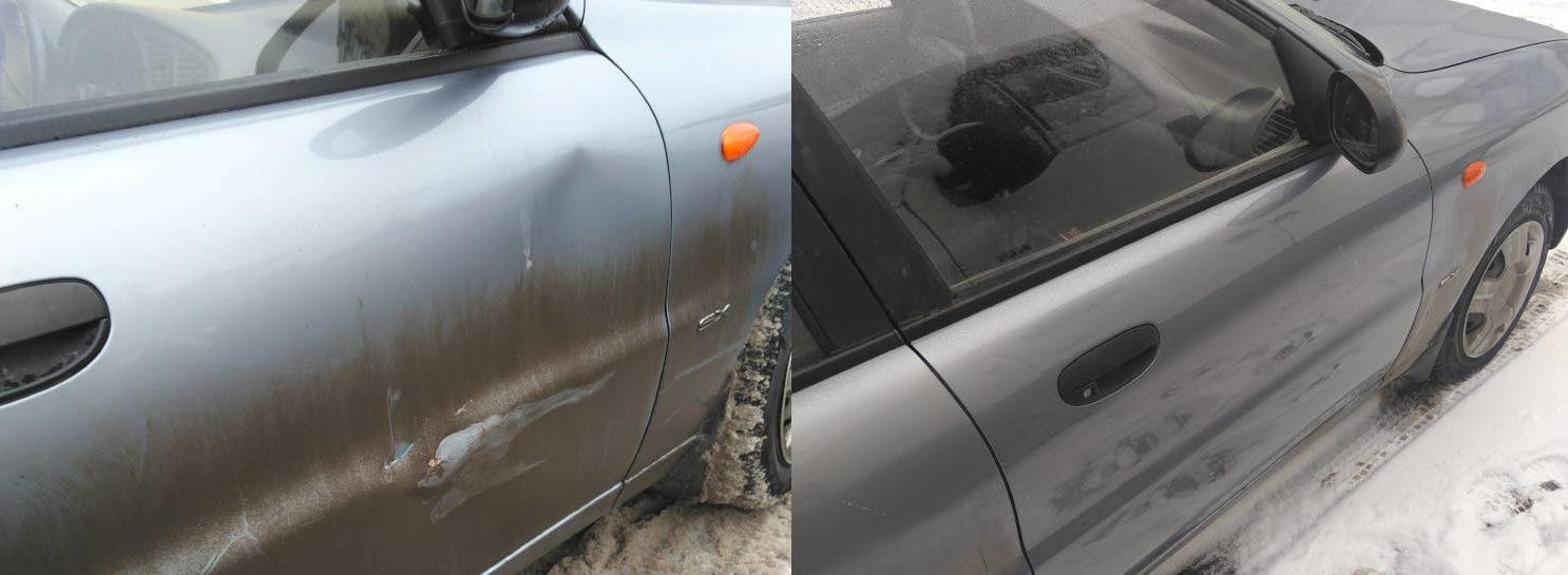 Фото до и после кузовного ремонта Chevrolet Lanos